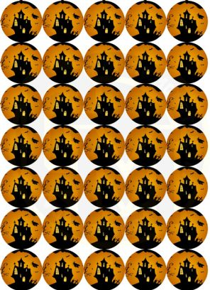 Halloween Stickers - Matt Paper - 37mm Rounds - Part Bags, Sweet Cones, Birthday
